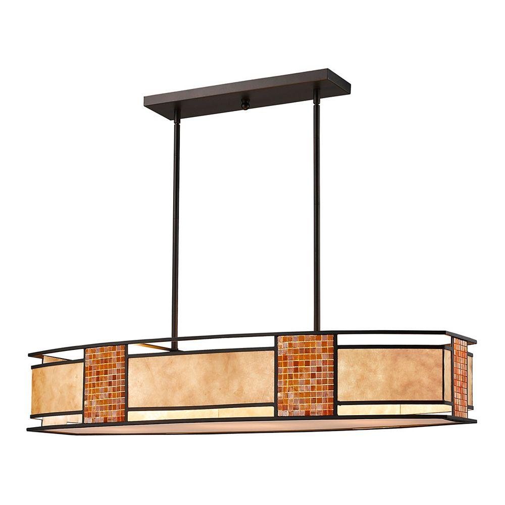 Filament Design Billard Île / Île en bronze à 4 ampoules avec abat-jour en mica blanc et carreaux de verre - 42 pouces