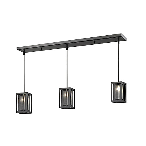 3-Light Bronze Island/Billiard with Bronze and Clear Reeded Glass and Steel Shade - 50 inch
