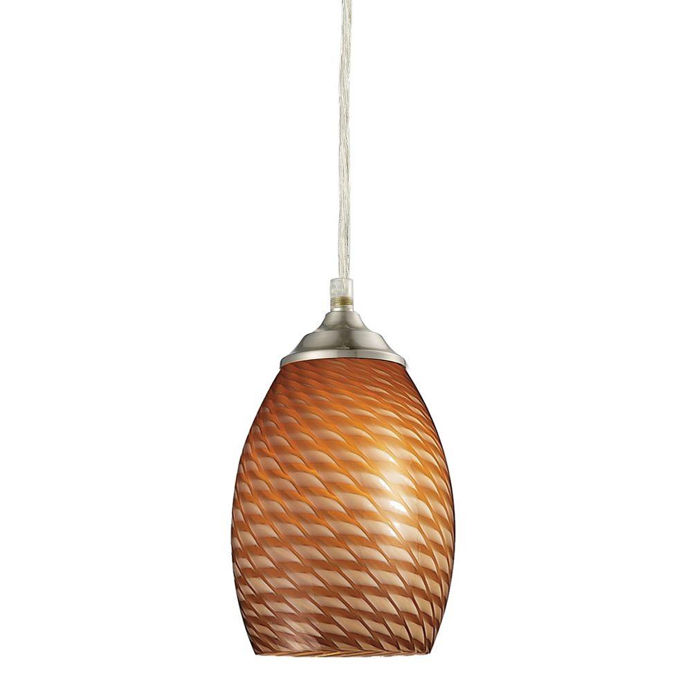 Filament Design Mini suspension à 1 lumière, nickel brossé et verre Carmel, 5 po