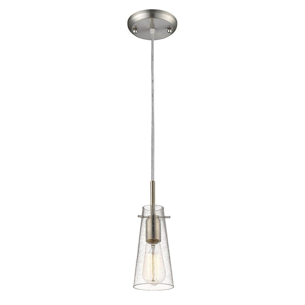 Filament Design Luminaire suspendu miniature à 1 ampoule nickel brossé