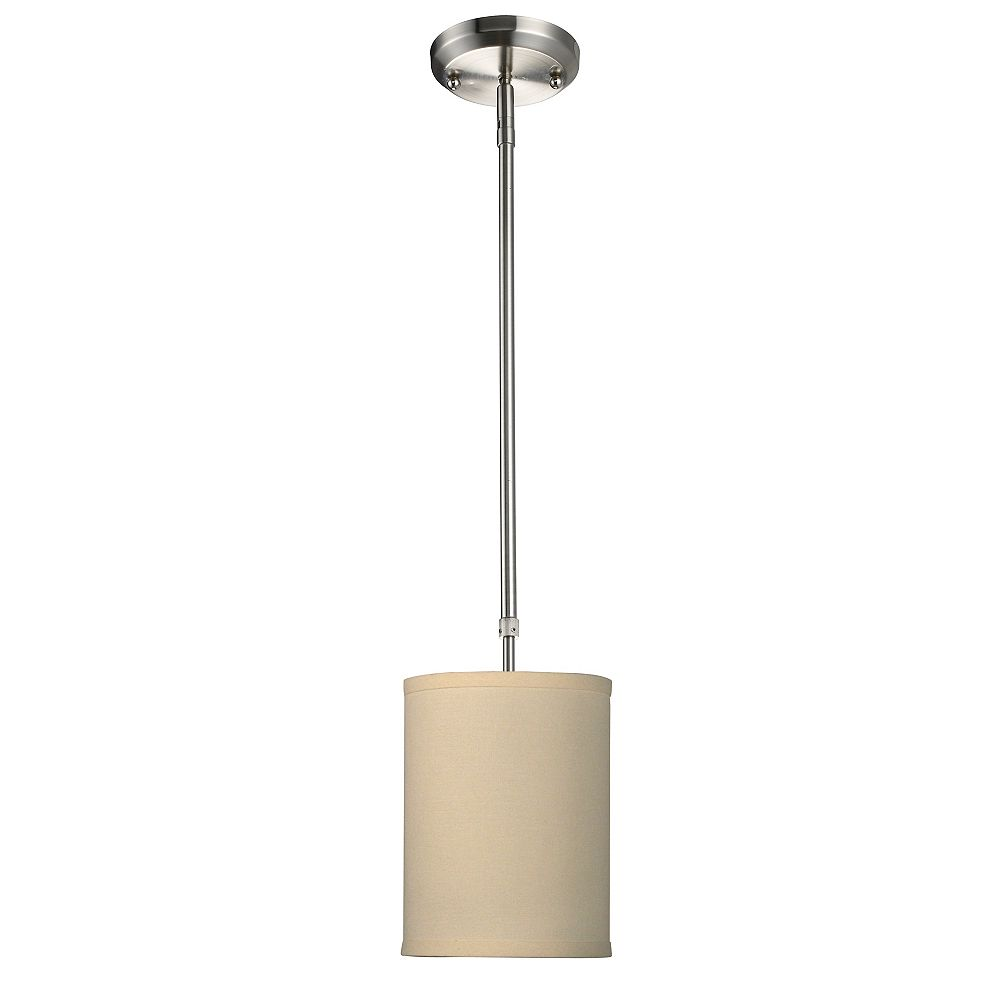 Filament Design 1-Light Brushed Nickel Mini Pendant with Crème Linen Fabric Shade - 6 inch