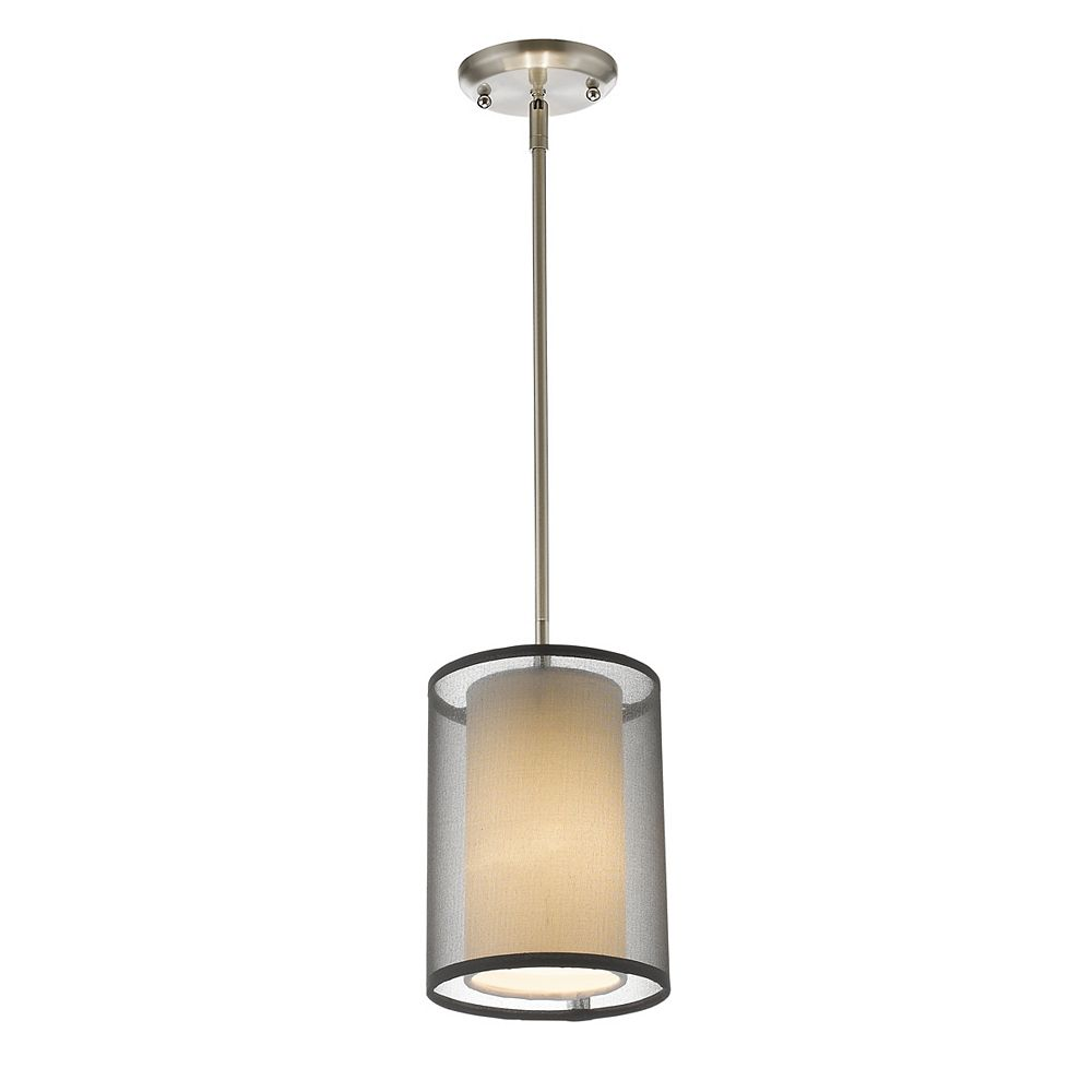Filament Design 1-Light Brushed Nickel Mini Pendant with Black and White Organza Shade
