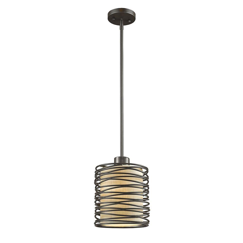 Filament Design 1-Light Bronze Mini Pendant with Flax Linen Fabric Shade - 6 inch