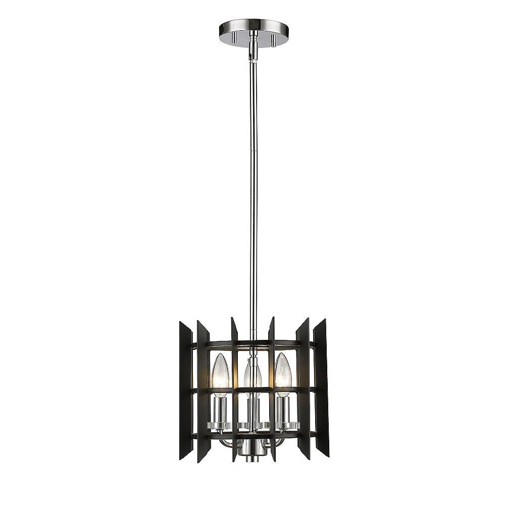 Filament Design Luminaire suspendu miniature à 3 ampoules au fini chrome avec abat-jour en acier noir mat
