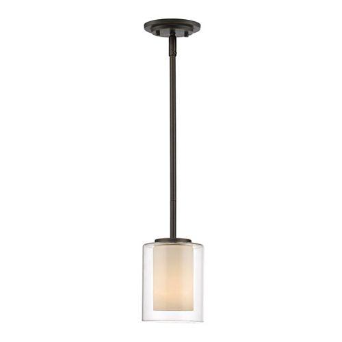 Luminaire suspendu miniature à 1 ampoule bronze et verre opale transparent et mat