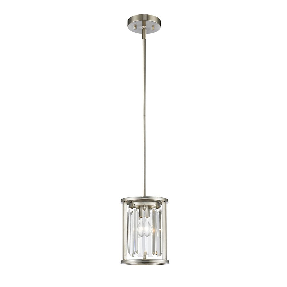 Filament Design 1-Light Brushed Nickel Mini Pendant with Clear Crystal Accents - 7 inch