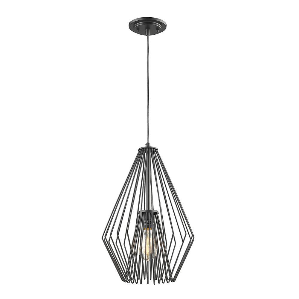 Filament Design Luminaire suspendu noir à 1 ampoule noir mat avec abat-jour en acier noir mat