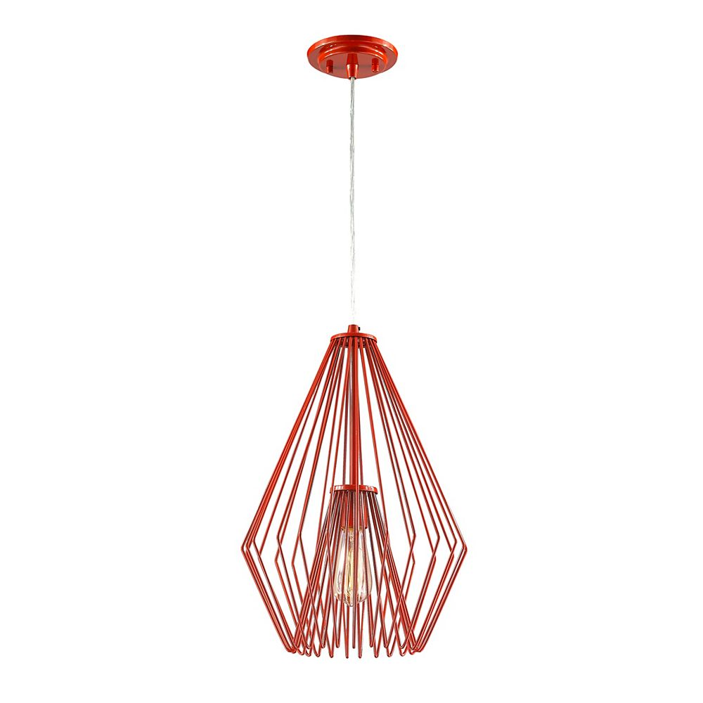 Filament Design 1-Light Red Mini Pendant with Red Steel Shade - 12.25 inch