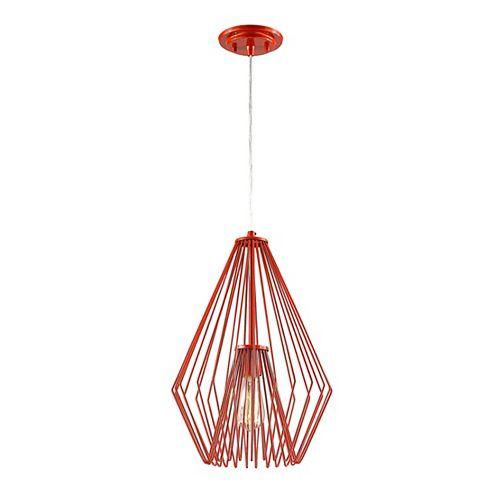 Luminaire suspendu miniature à 1 ampoule rouge avec abat-jour en acier rouge