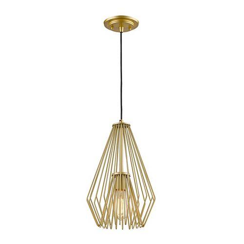 Luminaire suspendu miniature à 1 ampoule dorée avec abat-jour en acier doré - 9,25 pouces