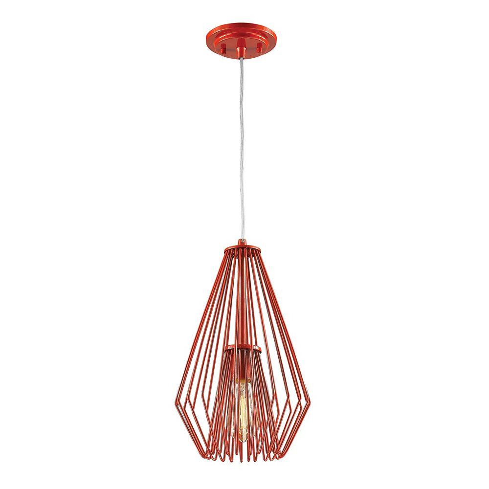 Filament Design Luminaire suspendu miniature à 1 ampoule rouge avec abat-jour en acier rouge - 9,25 pouces