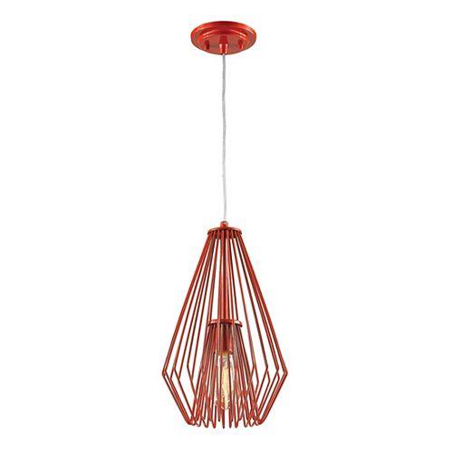 Luminaire suspendu miniature à 1 ampoule rouge avec abat-jour en acier rouge - 9,25 pouces