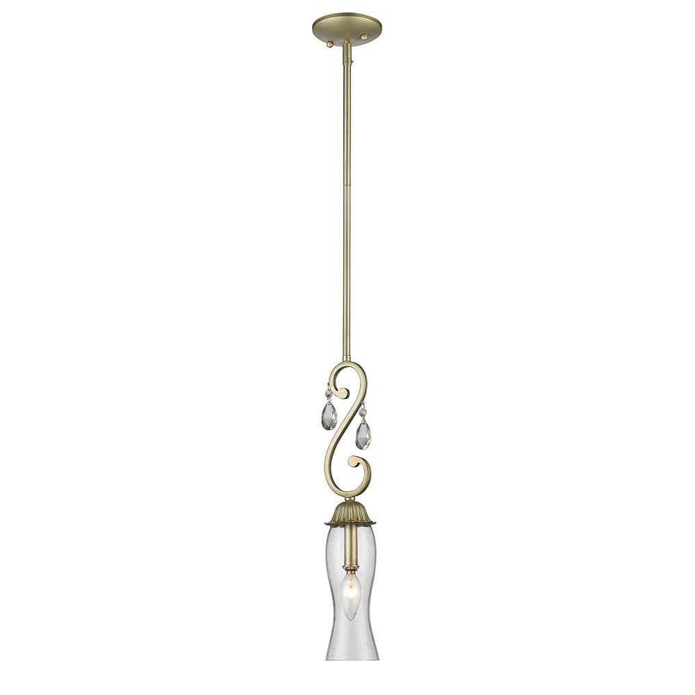 Filament Design Luminaire suspendu miniature à 1 ampoule au fini argent antique avec verre transparent à avale-pied - 3,5 pouces