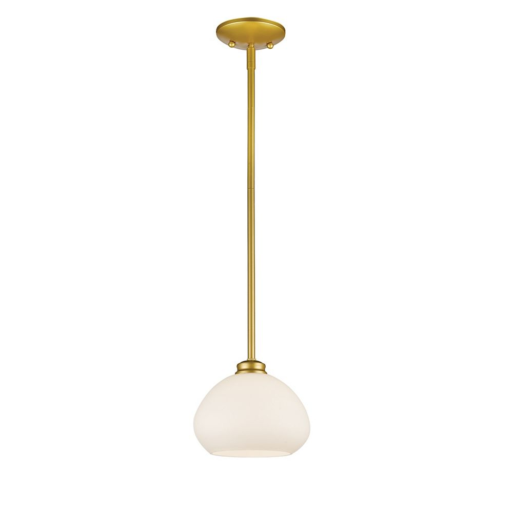 Filament Design Luminaire suspendu miniature à 1 ampoule au fini opaque, verre opale mat