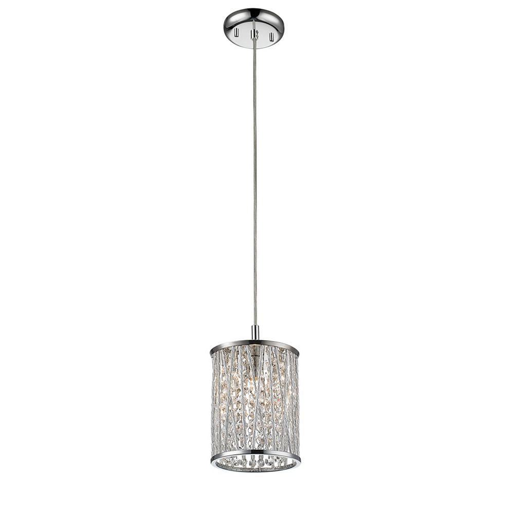 Filament Design Luminaire suspendu miniature à 1 ampoule chrome avec abat-jour en aluminium chromé - 5,91 pouces