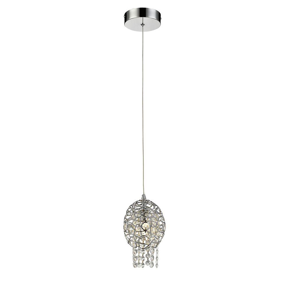 Filament Design Luminaire suspendu miniature à 1 ampoule chrome avec abat-jour en cristal de chrome et acier