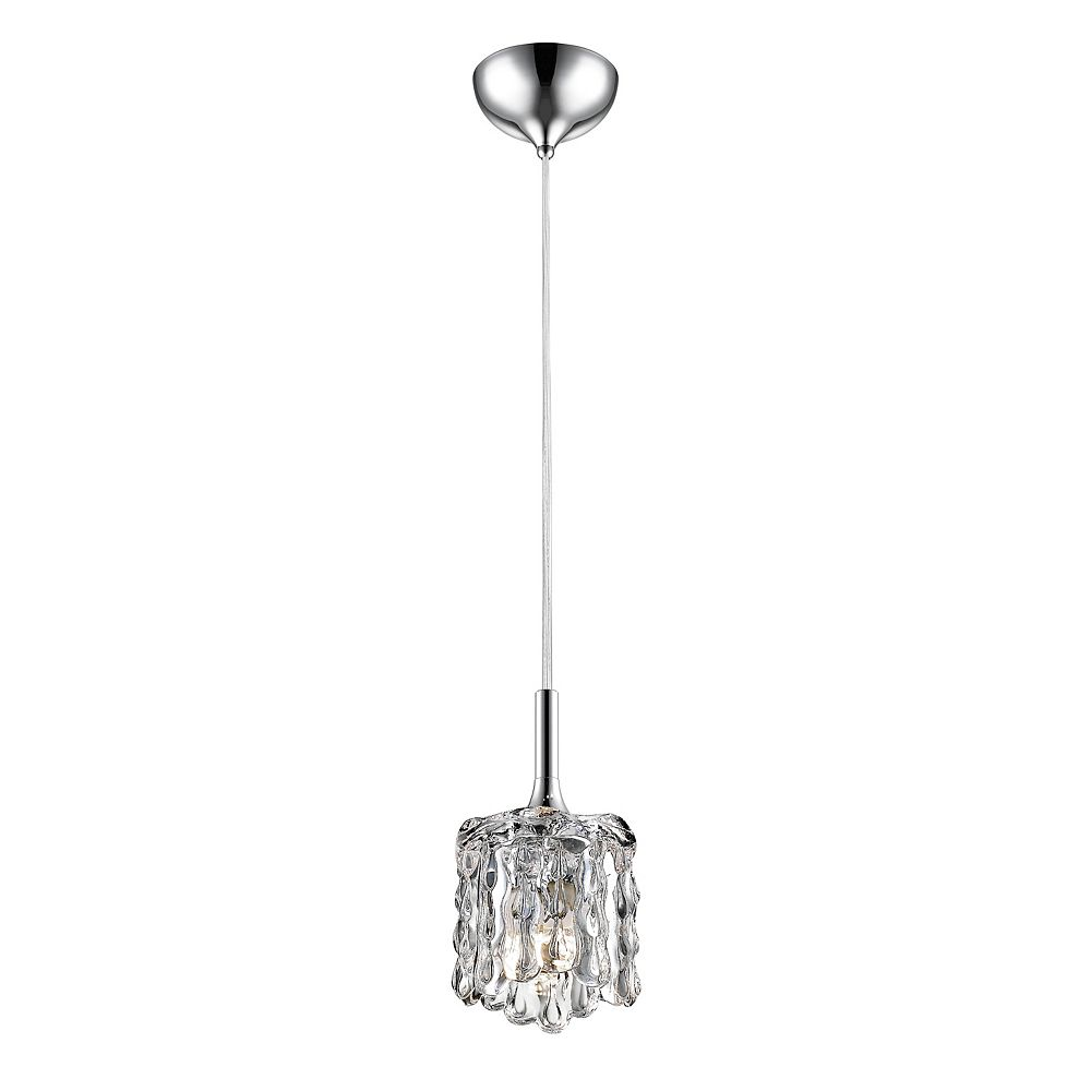 Filament Design 1-Light Chrome Mini Pendant with Chrome and Crystal and Steel Shade - 3.75 inch