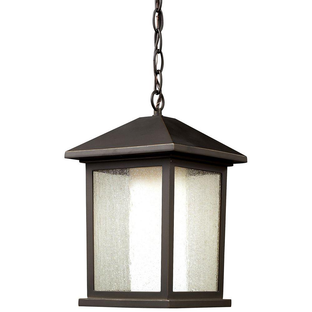 Filament Design Luminaire suspendu d'extérieur à 1 ampoule bronze huilé, avec verre transparent et à avale opaque mate - 9,5 pouces