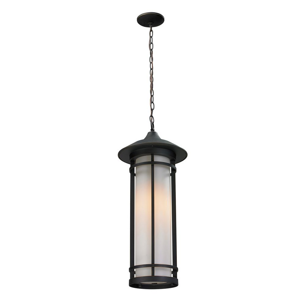 Filament Design 1-Light Oil Rubbed Bronze Outdoor Pendant with Matte Opal Glass - 10 inch