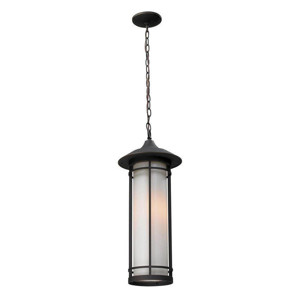 Filament Design Luminaire suspendu d'extérieur à 1 ampoule bronze huilé avec verre opale mat - 8,125 pouces