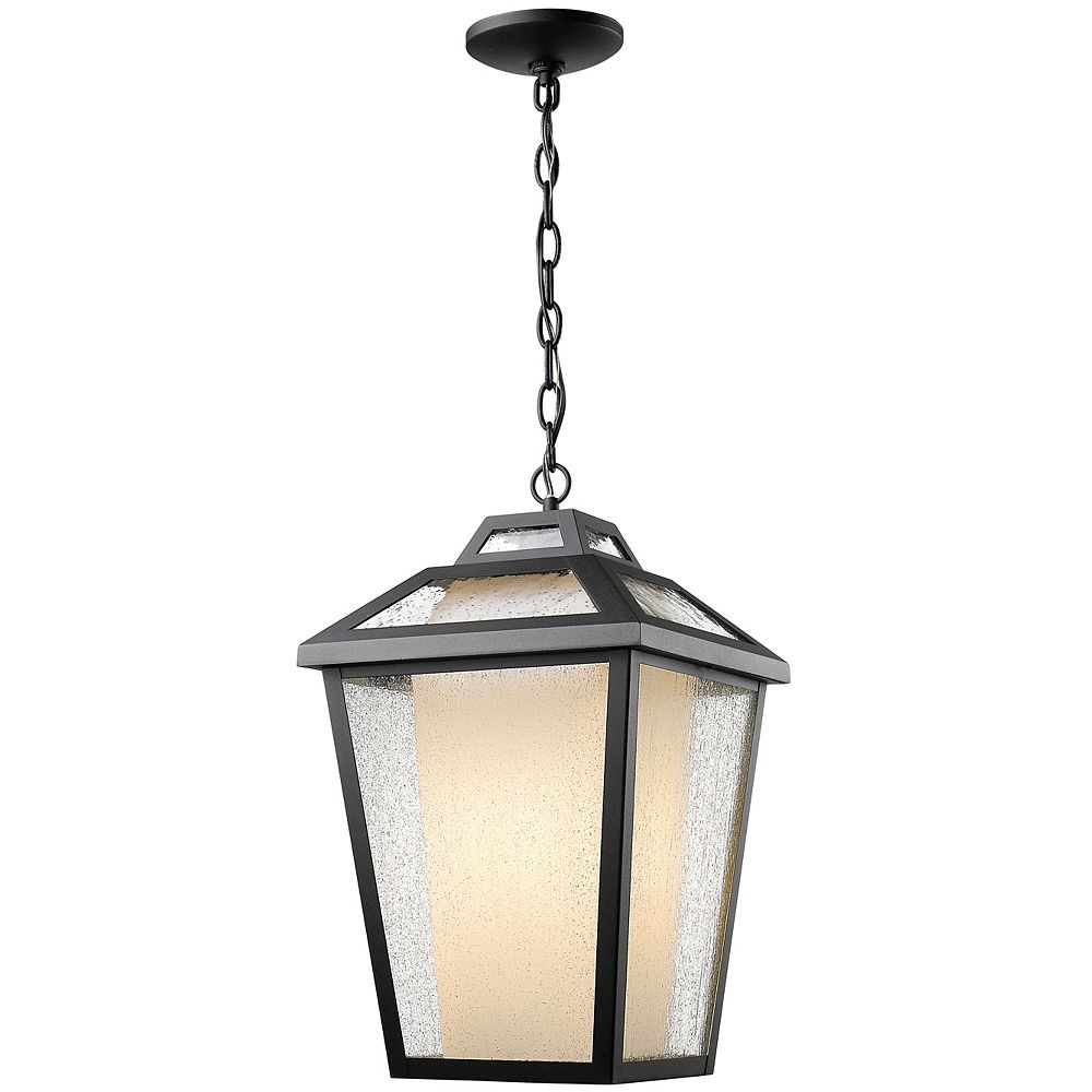 Filament Design 1-Light Black Outdoor Pendant with Clear Seedy and Matte Opal Glass - 11 inch