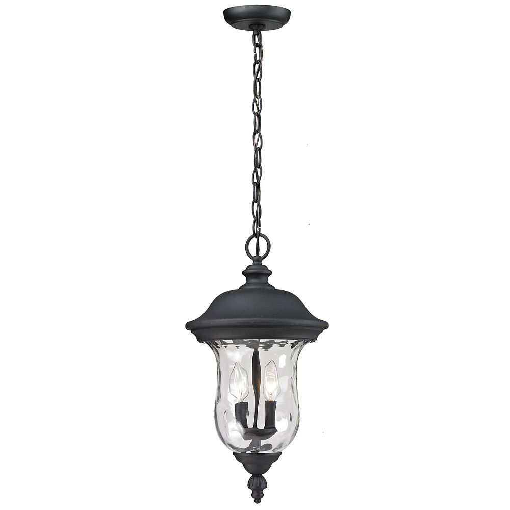 Filament Design 2-Light Black Outdoor Pendant with Clear Water Glass - 10 inch