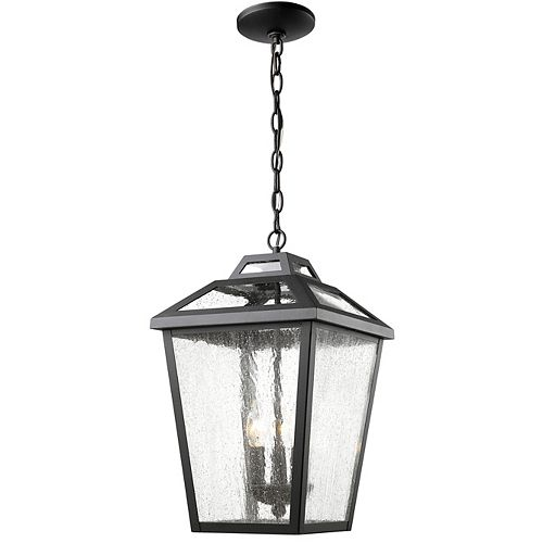 3-Light Black Outdoor Pendant with Clear Seedy Glass - 11 inch