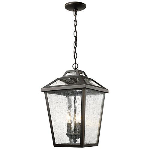 Luminaire suspendu d'extérieur à 3 Lumières, Bronze à Base de Verre Clair - 11 pouces