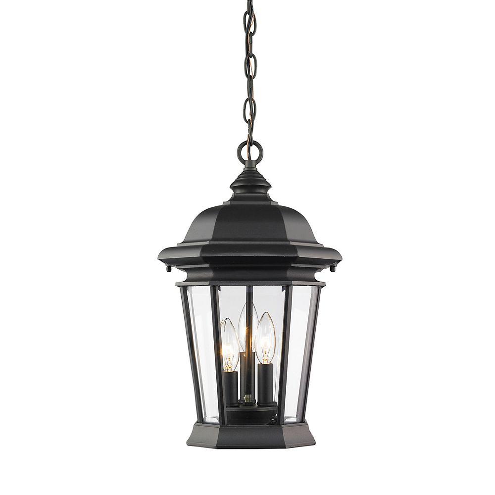 Filament Design Luminaire suspendu d'extérieur noir à 3 ampoules avec verre biseauté transparent - 25 cm