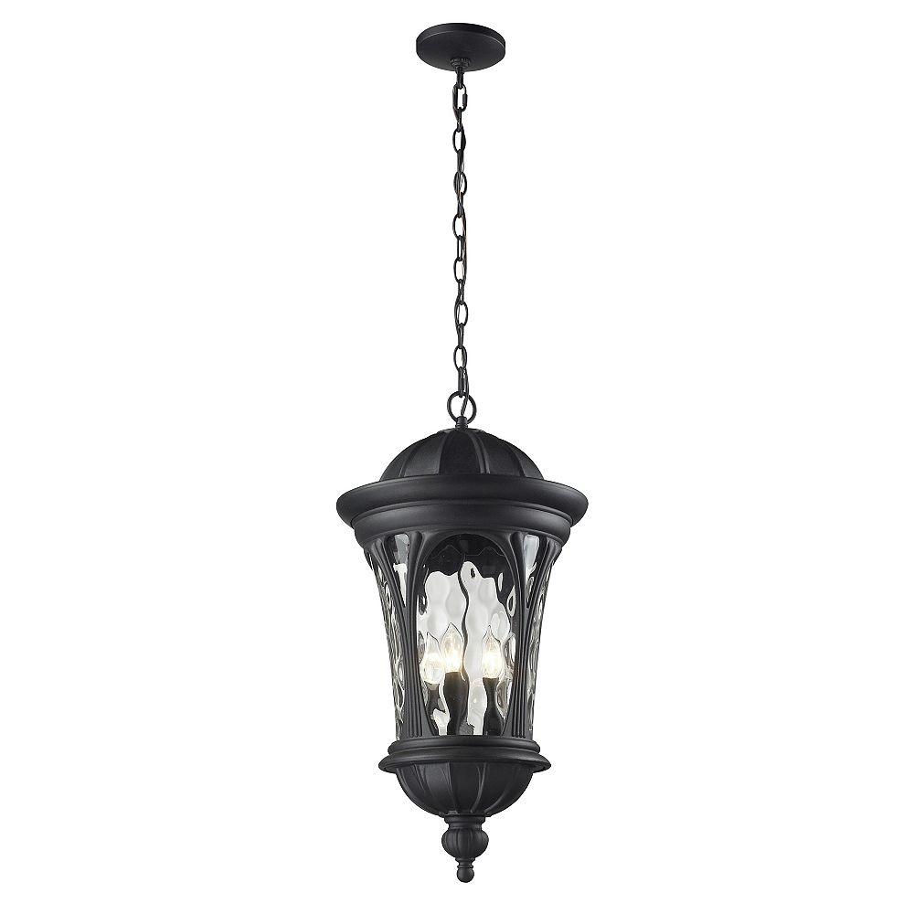 Filament Design Luminaire suspendu d'extérieur noir à 5 ampoules avec verre d'eau - 14 pouces