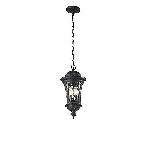 Luminaire suspendu d'extérieur noir à 3 ampoules avec verre d'eau - 9 pouces