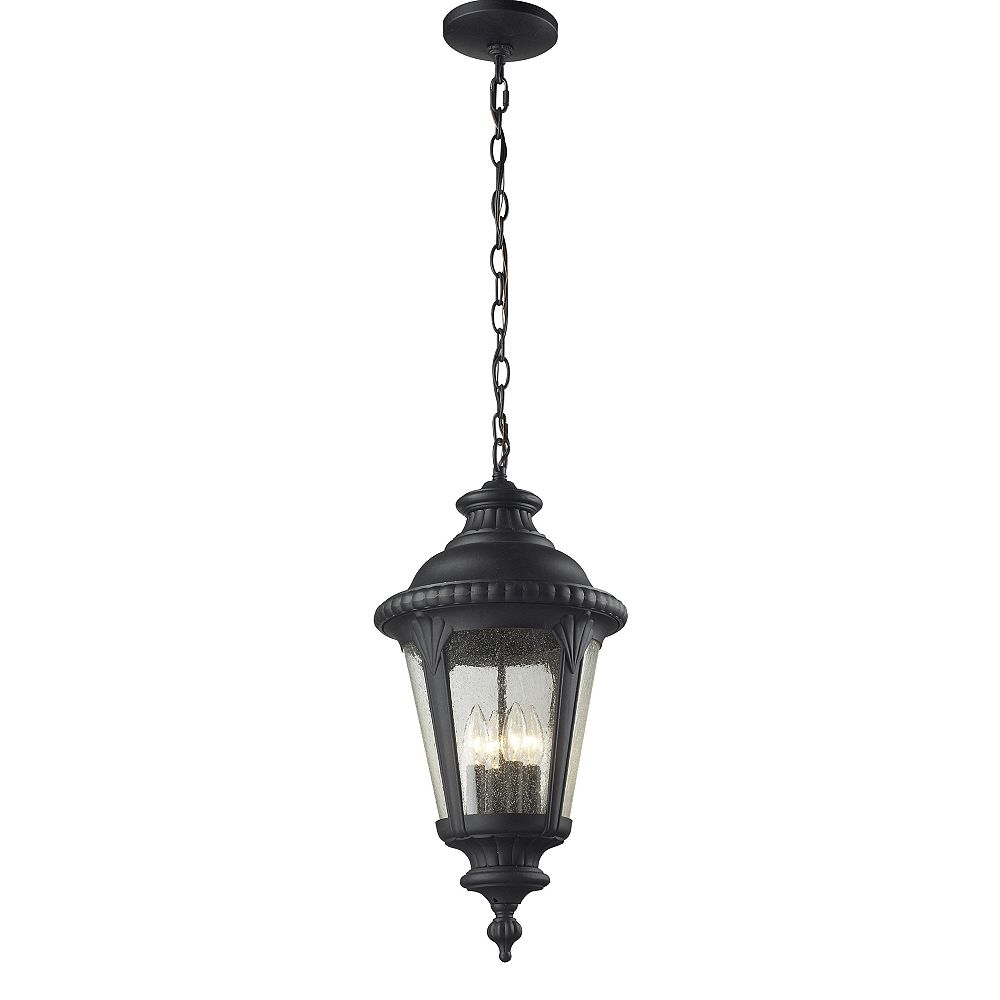 Filament Design 4-Light Black Outdoor Pendant with Clear Seedy Glass - 11.875 inch