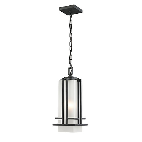 1-Light Black Outdoor Pendant with Matte Opal Glass - 6.625 inch