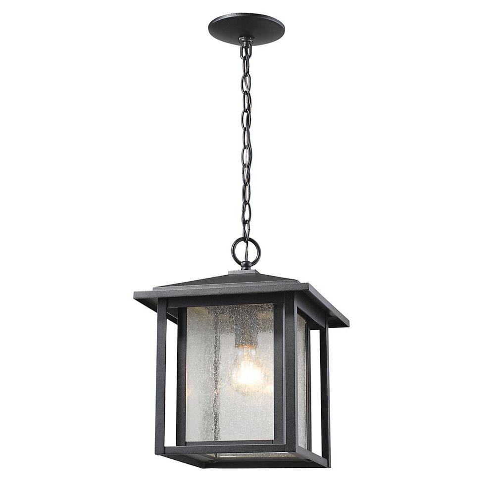 Filament Design Luminaire suspendu d'extérieur noir à 1 lumière avec verre à gouttes transparent - 11 pouces