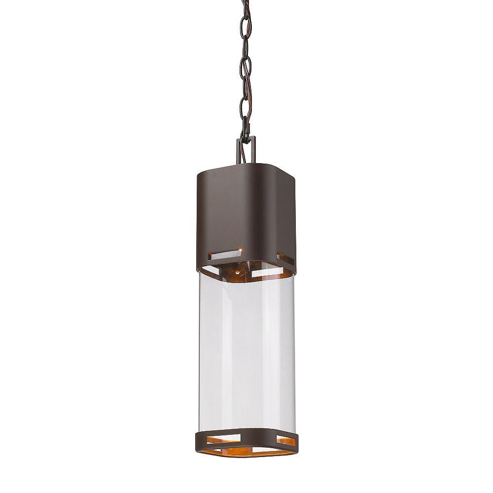 Filament Design 1-Light Deep Bronze Outdoor Pendant with Clear Glass - 5 inch