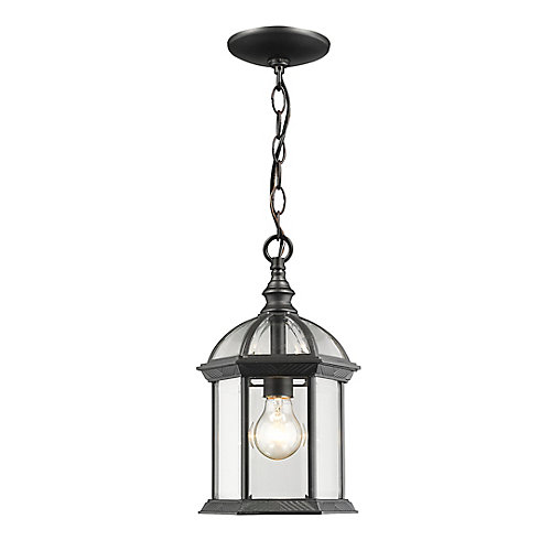 Luminaire suspendu d'extérieur noir à 1 lumière avec verre biseauté transparent - 8 pouces