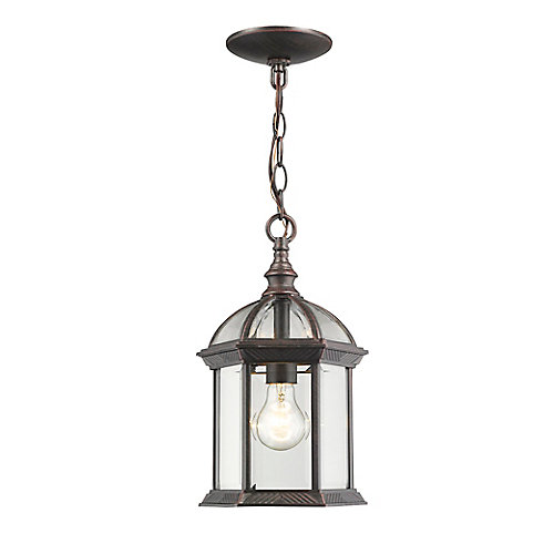 1-Light Rust Outdoor Pendant with Clear Beveled Glass - 8 inch