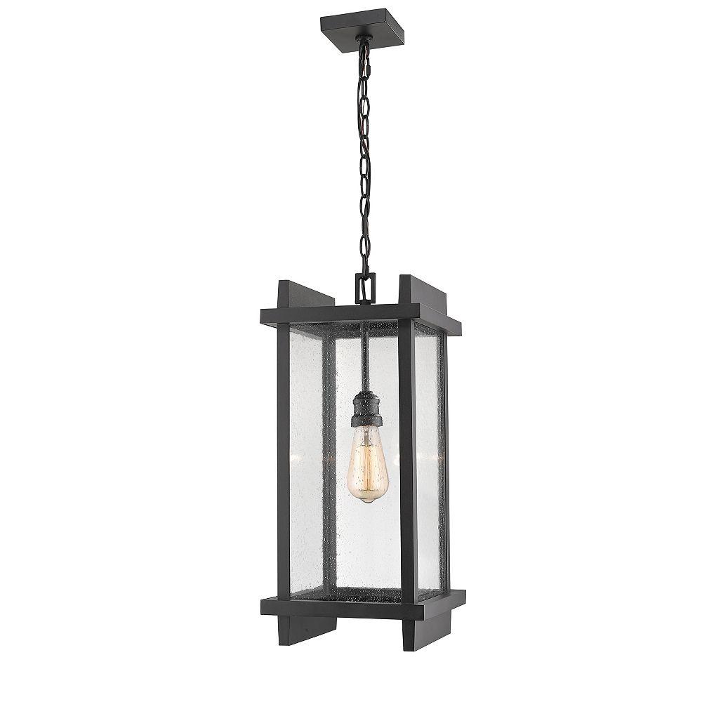 Filament Design Luminaire suspendu d'extérieur noir à 1 lumière avec verre à gouttes transparent - 10 pouces
