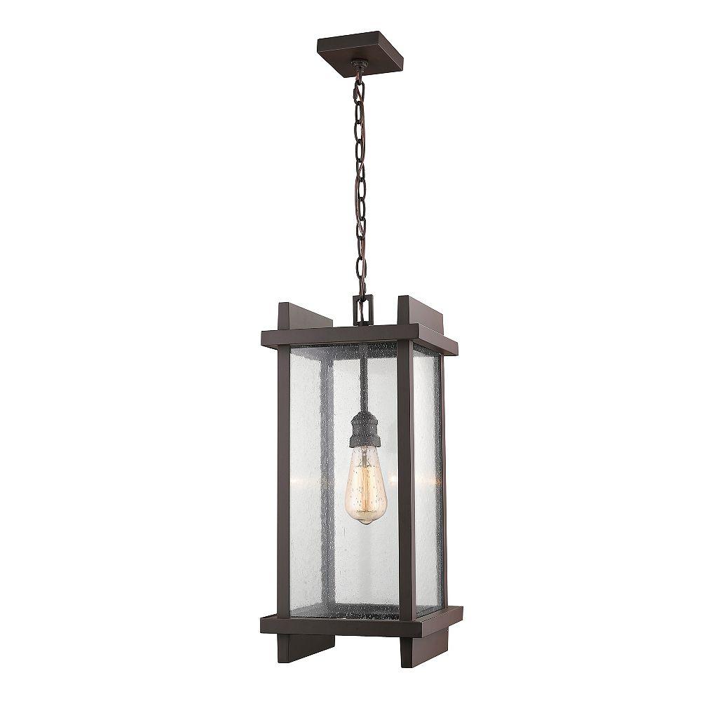Filament Design Luminaire suspendu d'extérieur à 1 ampoule DEL Bronze profond avec verre à gouttes transparent