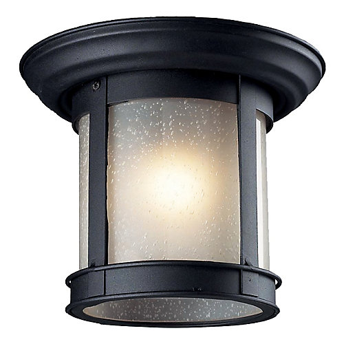 1-Light Black Outdoor Flush Ceiling Mount Fixture with White Seedy Glass - 9.75 inch