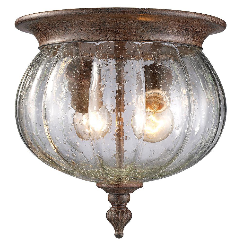 Filament Design Plafonnier encastré extérieur à 2 ampoules au fini bronze patiné avec verre à gouttes transparent - 10 pouces