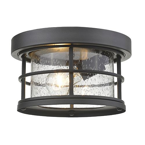1-Light Black Outdoor Flush Ceiling Mount Fixture with Clear Seedy Glass - 10 inch