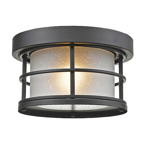 1-Light Black Outdoor Flush Ceiling Mount Fixture with White Seedy Glass - 10 inch