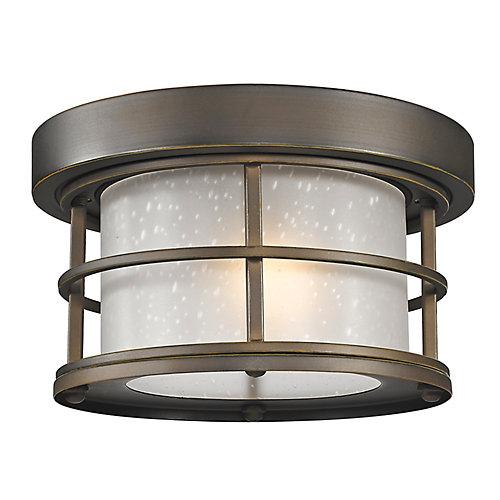 Plafonnier extérieur affleurant à 1 ampoule au fini bronze huilé avec verre à gouttes blanc - 10 pouces