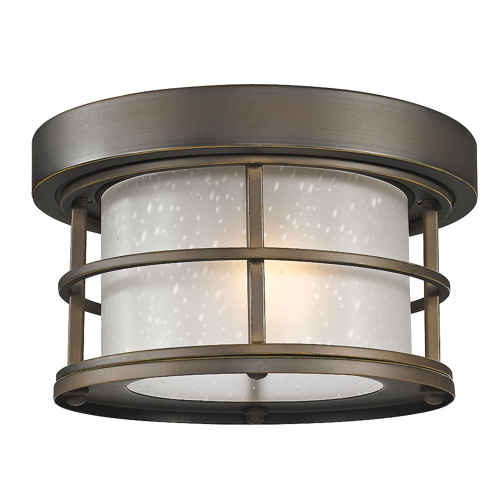 Filament Design 1-Light Oil Rubbed Bronze Outdoor Flush Ceiling Mount Fixture with White Seedy Glass - 10 inch