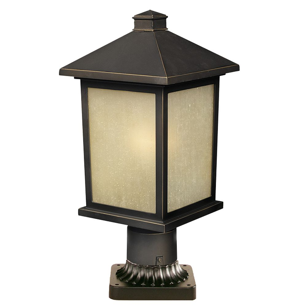 Filament Design 1-Light Oil Rubbed Bronze Outdoor Pier Mount Light with Tinted Seedy Glass - 9.25 inch
