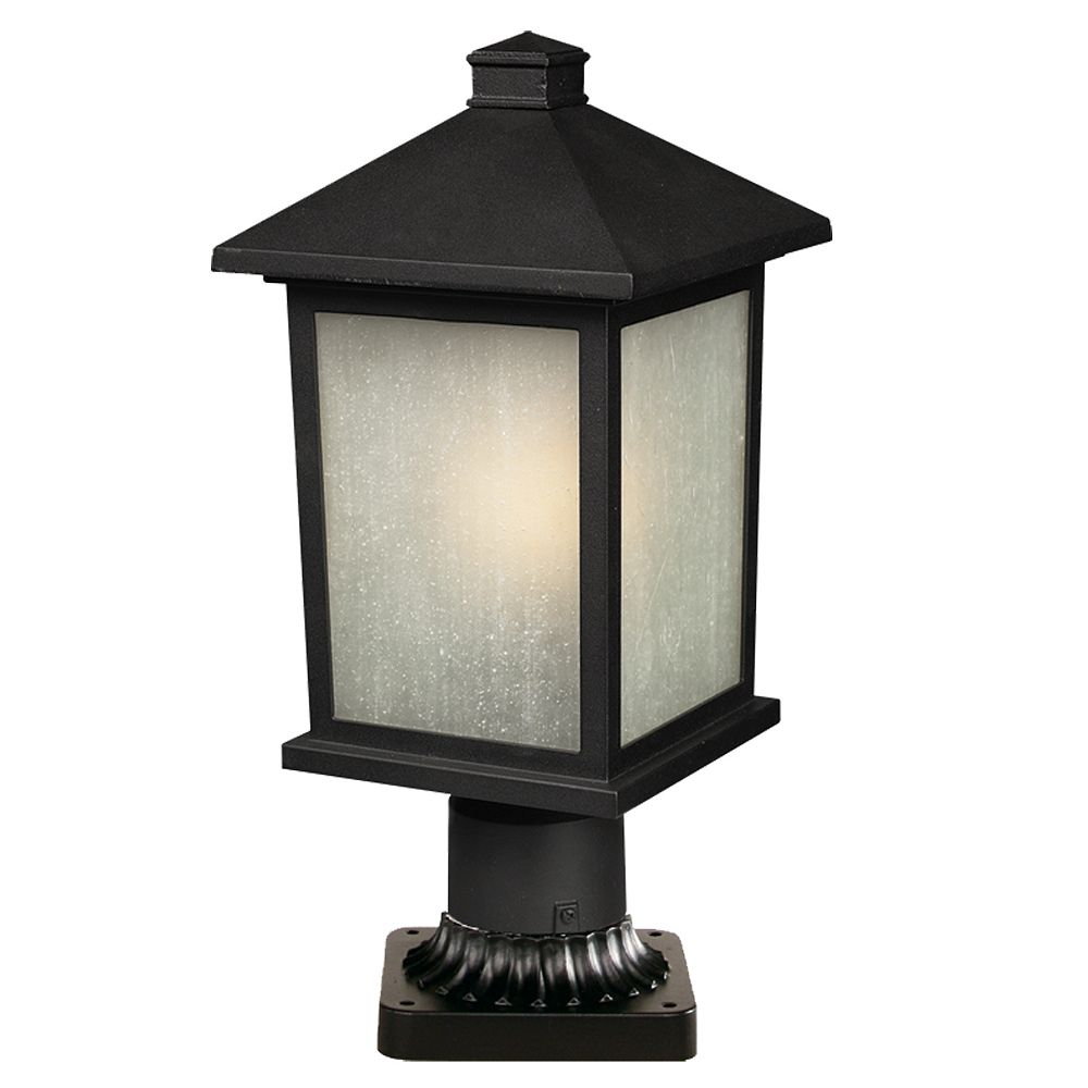 Filament Design 1-Light Black Outdoor Pier Mount Light with White Seedy Glass - Dimmable