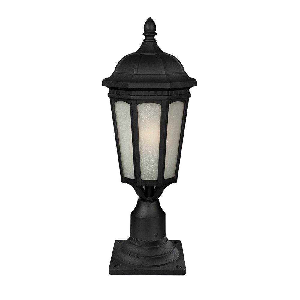 Filament Design 1-Light Black Outdoor Pier Mount Light with White Seedy Glass - 10.375 inch