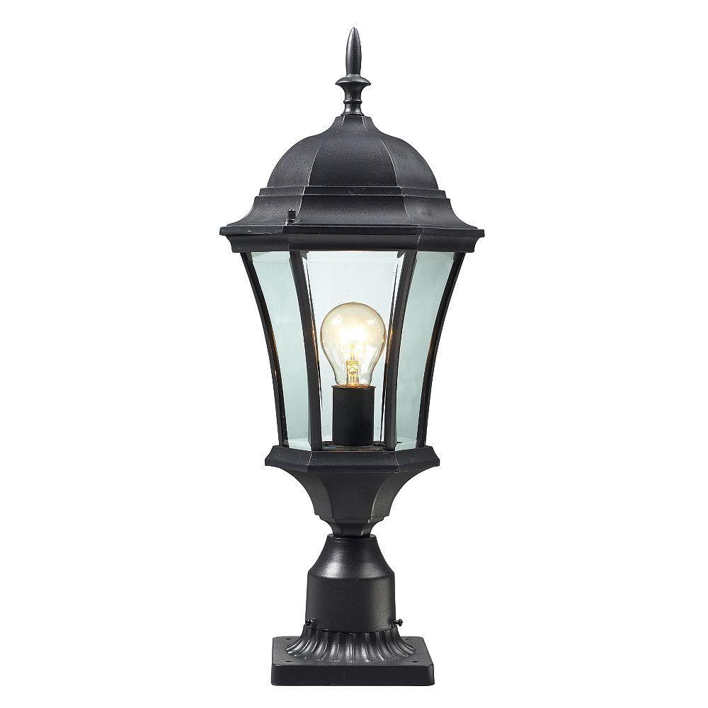 Filament Design Jetable extérieur 1 lumière noire, montage léger, verre clair biseauté - 9,5 pouces