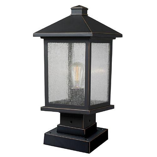 Plafonnier extérieur à 1 ampoule au fini bronze huilé avec abat-jour en verre transparent